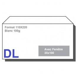 Type DL - Format 110X220 Blanc avec fenêtre 35X100