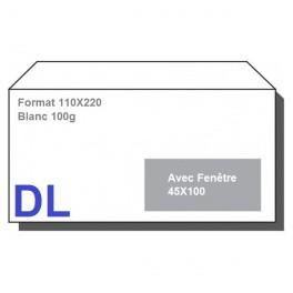 Type DL - Format 110X220 Blanc avec fenêtre 45X100