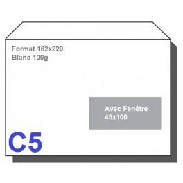 Type C5 - Format 162X229 Blanc avec fenêtre 45X100